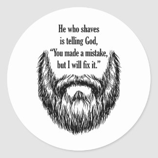salt and pepper fuzzy beard classic round sticker