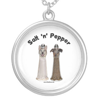 Salt and Pepper Shakers Dogs Silver Plated Necklace
