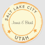 Salt Lake City con las estrellas Etiquetas Redondas