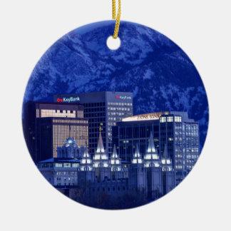 Salt Lake City Downtown Winter Skyline Ceramic Ornament