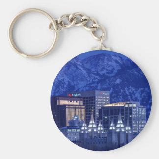 Salt Lake City Downtown Winter Skyline Keychain