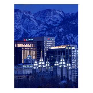 Salt Lake City Downtown Winter Skyline Postcard