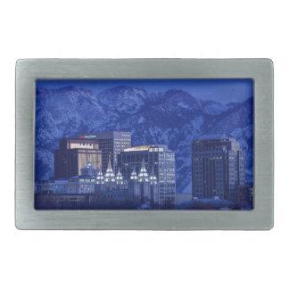 Salt Lake City Downtown Winter Skyline Rectangular Belt Buckle