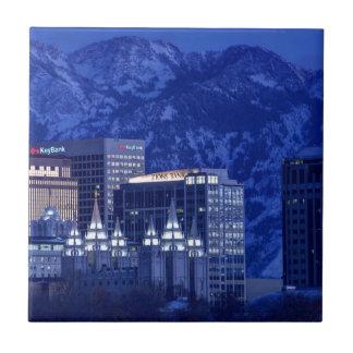 Salt Lake City Downtown Winter Skyline Tile