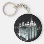 Salt Lake City LDS Temple at night. Basic Round Button Keychain