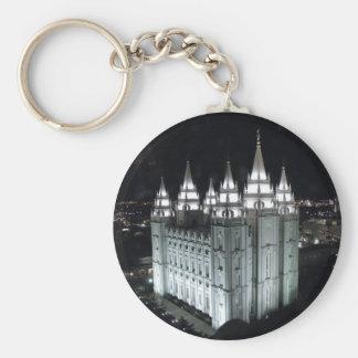 Salt Lake City LDS Temple at night. Keychain