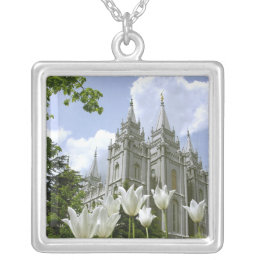 Salt Lake City LDS Temple Silver Plated Necklace