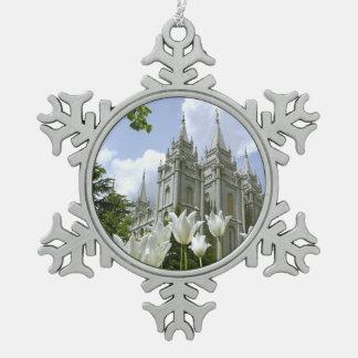 Salt Lake City, LDS Temple Snowflake Pewter Christmas Ornament