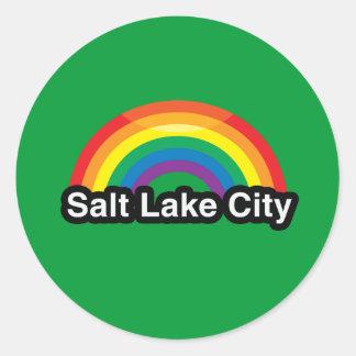 SALT LAKE CITY LGBT PRIDE RAINBOW CLASSIC ROUND STICKER