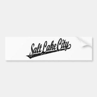 Salt Lake City script logo in black distressed Bumper Sticker