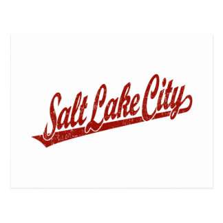 Salt Lake City script logo in red distressed Post Cards