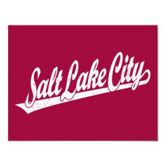 Salt Lake City script logo in white distressed Card