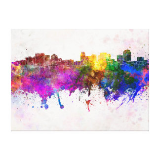 Salt Lake City skyline in watercolor background Canvas Print