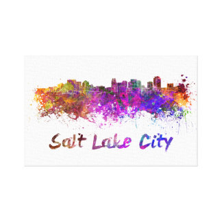 Salt Lake City skyline in watercolor Canvas Print