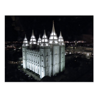 Salt Lake City Temple at night. Postcard