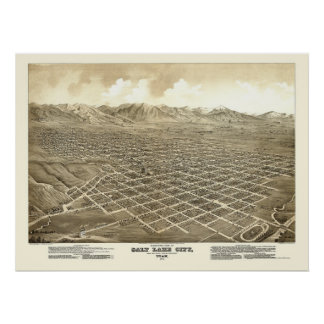 Salt Lake City, UT Panoramic Map - 1875 Poster