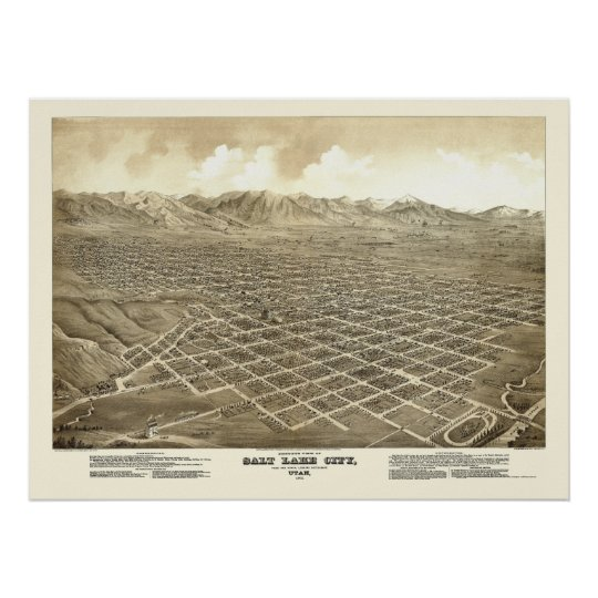 Salt Lake City, UT Panoramic Map - 1875 Poster