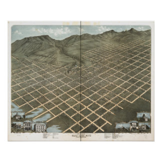 Salt Lake City Utah 1870 Antique Panoramic Map Poster