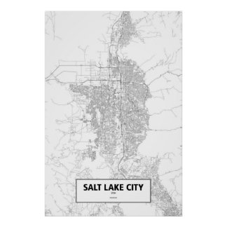 Salt Lake City, Utah (black on white) Poster