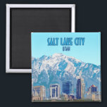 "Salt Lake City Utah Downtown Vintage Magnet<br><div class=""desc"">Display the buildings of downtown and mountains in Salt Lake City,  Utah,  USA on a magnet in your home as a memento of one of America's greatest sites!</div>"