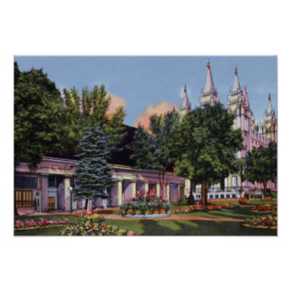 Salt Lake City Utah Mormon Tabernacle and Temple Poster