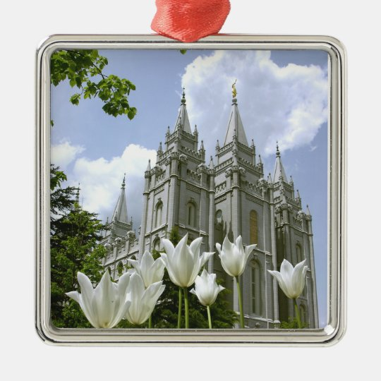 Salt Lake City, Utah, Mormon Temple Metal Ornament