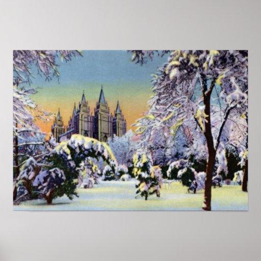 Salt Lake City Utah Temple Grounds in Winter Poster