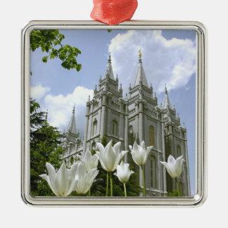 Salt Lake City, Utah, templo mormón Adorno Navideño Cuadrado De Metal