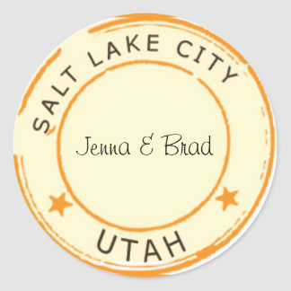 Salt Lake City with Stars Classic Round Sticker