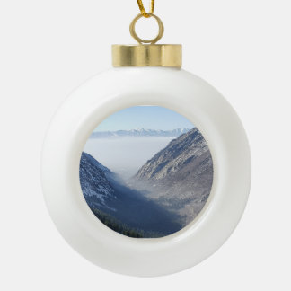 Salt Lake from the Canyon Ceramic Ball Christmas Ornament