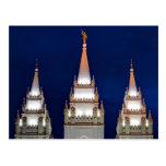 Salt Lake LDS Mormon Temple at Night Postcard