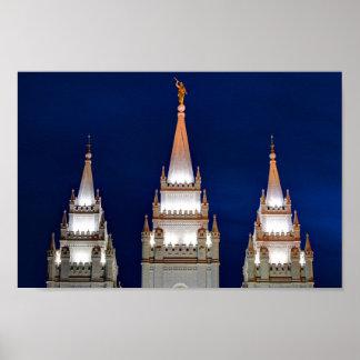 Salt Lake LDS Mormon Temple at Night Print