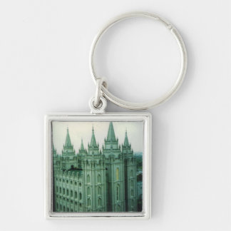 Salt Lake LDS Temple Silver-Colored Square Keychain