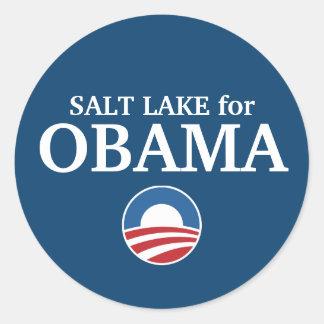 SALT LAKE para el personalizado de Obama su ciudad Etiqueta Redonda
