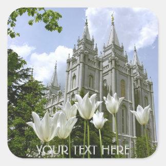Salt Lake Sity templo de LDS Calcomania Cuadrada Personalizada