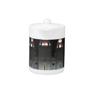 Salt Lake Temple At Night Teapot