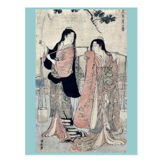 Salt maidens by Torii, Kiyonaga Ukiyo-e. Postcard