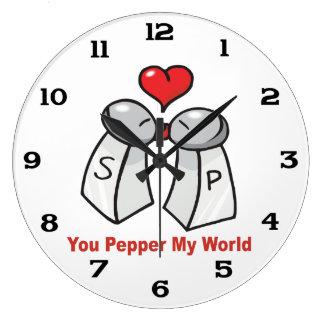 Salt n Pepper Shaker Valentines Large Clock