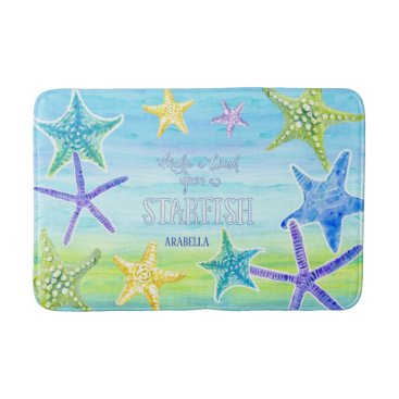 Beach Themed Salt n Sand Make a Wish Starfish Beach Ocean Decor Bathroom Mat