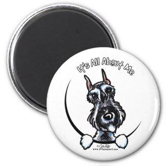 Salt Pepper Schnauzer IAAM 2 Inch Round Magnet