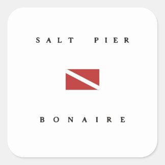 Salt Pier Bonaire Scuba Dive Flag Square Stickers