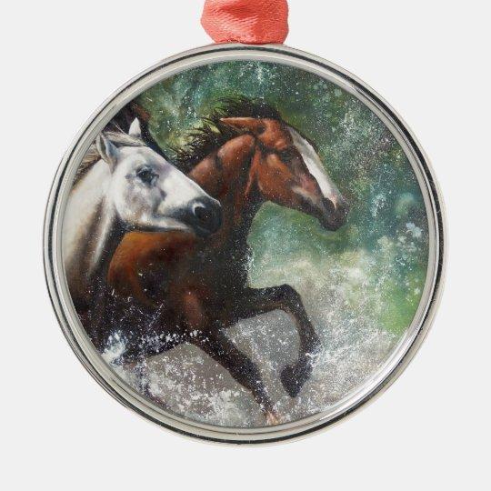 Salt River Wild Horses Metal Ornament