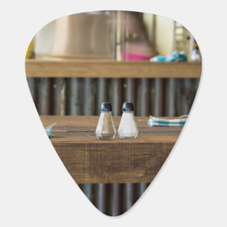 Salt Themed, Salt And Pepper Shakers Sit On A Wood Guitar Pick