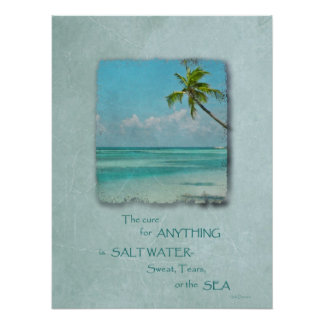 Salt Water Cure Tropical Beach Poster