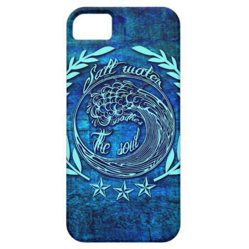 Salt water Soothes the soul surf art on blue base iPhone 5 Covers