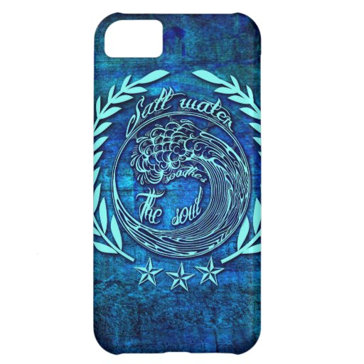 Salt water soothes the soul surf art on blue base. iPhone 5C case