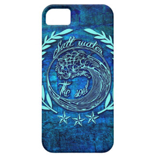 Salt water soothes the soul surf art on blue base. iPhone 5 cases