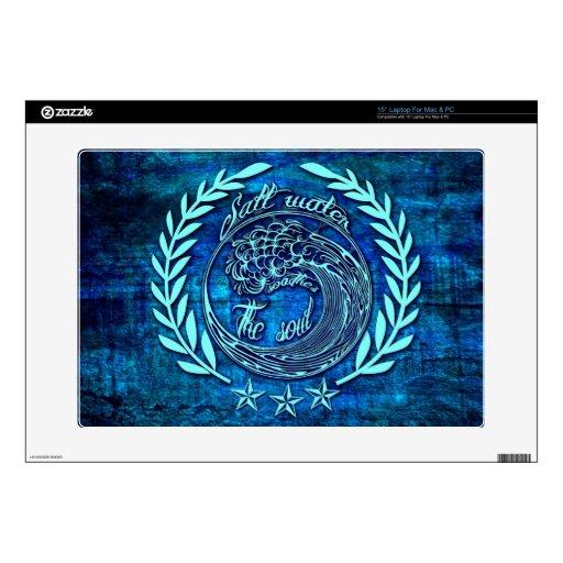 "Salt water soothes the soul surf art on blue base. skins for 15"" laptops"