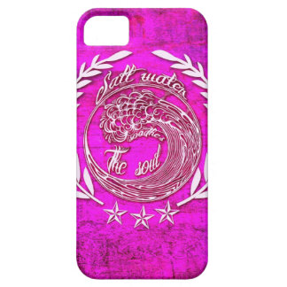 Salt water soothes the soul surf art on pink base. iPhone 5 cover