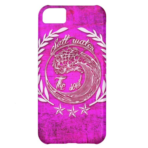 Salt water soothes the soul surf art on pink base. cover for iPhone 5C